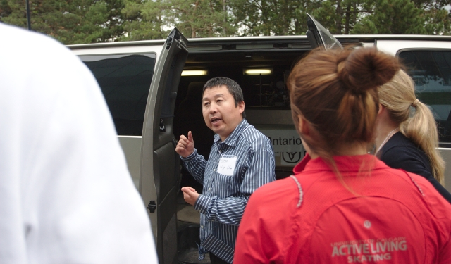 OME showing students contents of Mobile Air Monitoring Unit Van